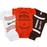 HAVE-A-BALL BABYSUITS | Baseball & Football Baby Clothes | UncommonGoods