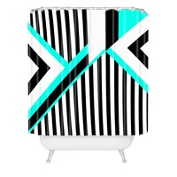 Elisabeth Fredriksson Turquoise Stripe Combination Shower Curtain