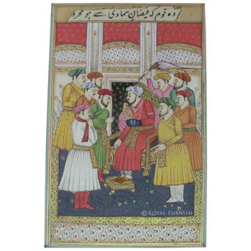 Indian Mughal Court Scene Rajasthan Miniature Painting