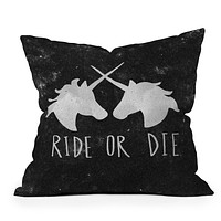 Leah Flores Ride or Die Unicorns Throw Pillow