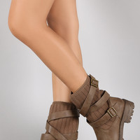 Strappy Buckled Sweater Shaft Mid Calf Boots