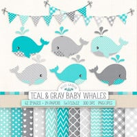 Baby Whale Clip Art. Baby Boy Shower Digital Paper & Banners in Teal, Gray, Mint, Blue. Nursery Chevron, Polka Dot, Nautical, Whale Patterns