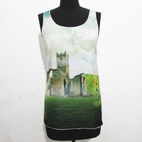 Old castle and sunflower tshirt, ancient wall and turnsole tanktop