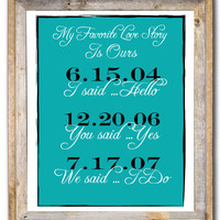 Personalized Wedding Anniversary Engagement Gift Print Custom Date Anniversary Printable Gift for Wife Gift for Spouse Our Love Story 11x14