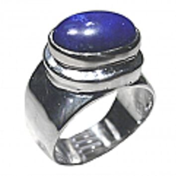 Sterling Silver Round Cabochon Ring with Raised Frame