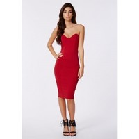 Missguided - Matilde Bandeau Bodycon Midi Dress In Red