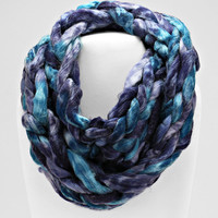 Ombre Knitted Hand Woven Infinity Scarf Teal Navy Blue Mix