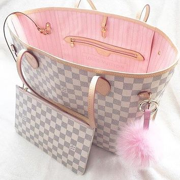 LV tide brand female classic old flower shopping bag handbag two-piece White check