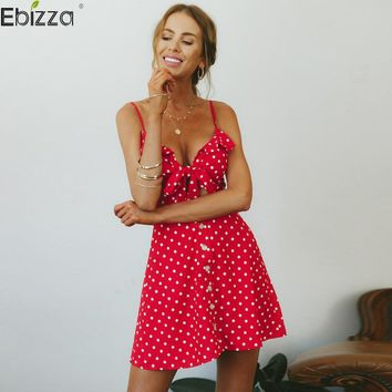 Ebizza Spaghetti Strap Polka Dots Print Dress Sexy Women Bow Hollow Out Sleeveless Mini Dresses Summer Cotton Dress Vestidos