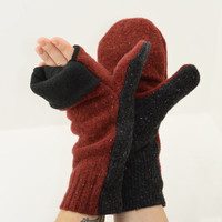 Convertible Mittens in Paprika and Charcoal - Burnt Orange and Grey - Recycled Wool - Fleece Lined