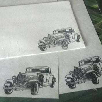 Old Car stationery Set 1 5 10 parchment paper letter writing and envelope hand stamped handmade card adult coloring