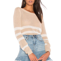 Splendid Halloway Mesh Sweater in Heather Oatmeal Natural | REVOLVE