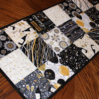 New Years Eve Party Table Runner Quilt, Black and White Quilted Table Runner, Reversible Celebration Table Decor, Quiltsy Handmade