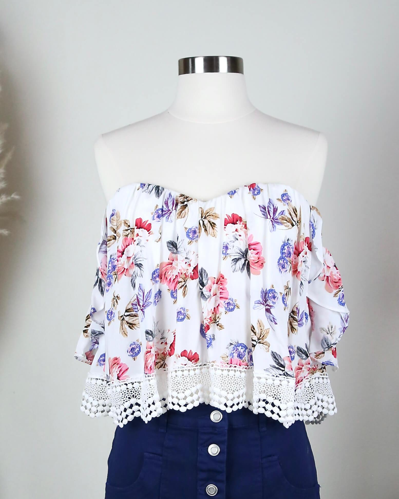 Image of Boho Chic Off The Shoulder Crop Top With Lace Trim in More Colors