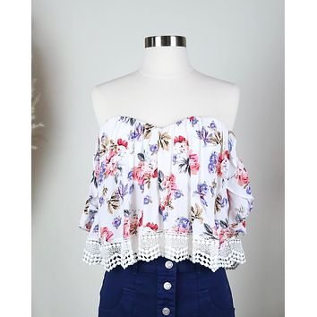 Boho Chic Off The Shoulder Crop Top With Lace Trim in More Colors