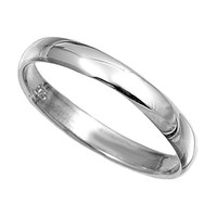 Unisex Plain Sterling Silver Wedding Band Ring - 3mm
