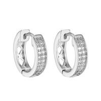 Hoop Huggie Earrings Silver Tone Simulated Diamonds Round Cut Stylish Men Womens