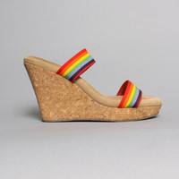 70s RAINBOW Strappy PLATFORMS / Cork Sole WEDGES, 8-8.5