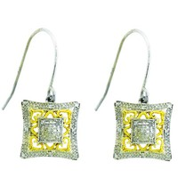 Diamond Fashion Earrings in White Gold-plated silver 0.13 ctw