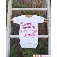 Kid's Cancer Awareness Outfit - Brave Women Run In My Family Onepiece or Tshirt - Race Team Outfit - Fight Cancer Shirt for Babies, Toddlers
