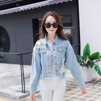 Vintage Casual Long Sleeve Loose Jean Jacket