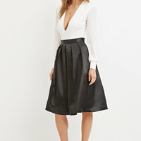 Sateen Pleated Midi Skirt