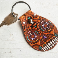 Sugar Skull Leather Keychain - Handpainted and hand stamped Fob - Day of the Dead - Mexicali