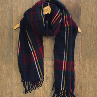 Urban Plaid Fringe Scarf