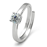 Engagement Wedding Rings 3W112 Rhodium Brass Ring with AAA Grade CZ