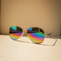 Mirrored Aviators Sunglasses in Gold