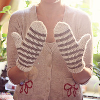 Instant download - Crochet PATTERN for mittens (pdf file) - Striped Mittens (adult, teen, child sizes included)