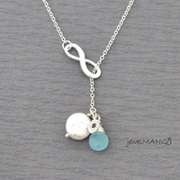 Silver infinity Necklace, infinity jewelry, Lariat Y-necklace,enternity, freshwater coin pearl, Amazonite, Aqua Blue Chalcedony