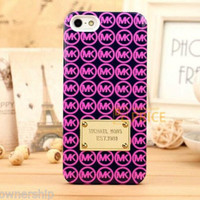 MICHAEL KORS MK iPhone 5s / 5 cell phone hard case Black Pink Gold RARE COLORS