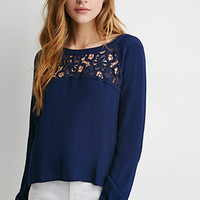 Crochet-Paneled Blouse
