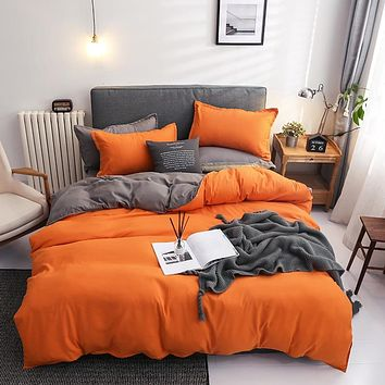 Solid Double Patchwork Duvet Covers Modern Bedclothes Bedding Set