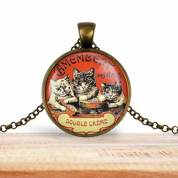 Vintage product label photo pendant - Camembert des amis, Cat pendant- foodie necklace, francophile necklace