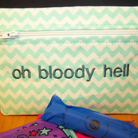 Oh Bloody Hell Tampon & Maxi Pad Taxi Mint Green Chevron Zippered Purse Pouch / Tampon Keeper