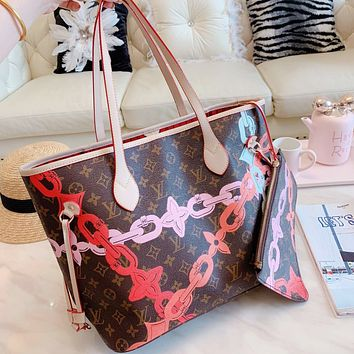 LV Louis Vuitton High Quality Hot Sale Women Retro Leather Tote Handbag Shoulder Bag Purse Wallet Set Two-Piece