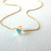 Delicate Solitaire Swarovski  Crystal Charm and 14k Gold Fill Chain Necklace - Unique Delicate Sparkle Deconstructed Charm Necklace for Her