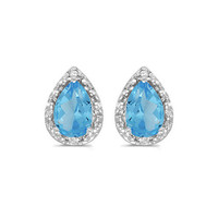 14K White Gold Pear Blue Topaz and Diamond Earrings (1 3/4ct tgw)