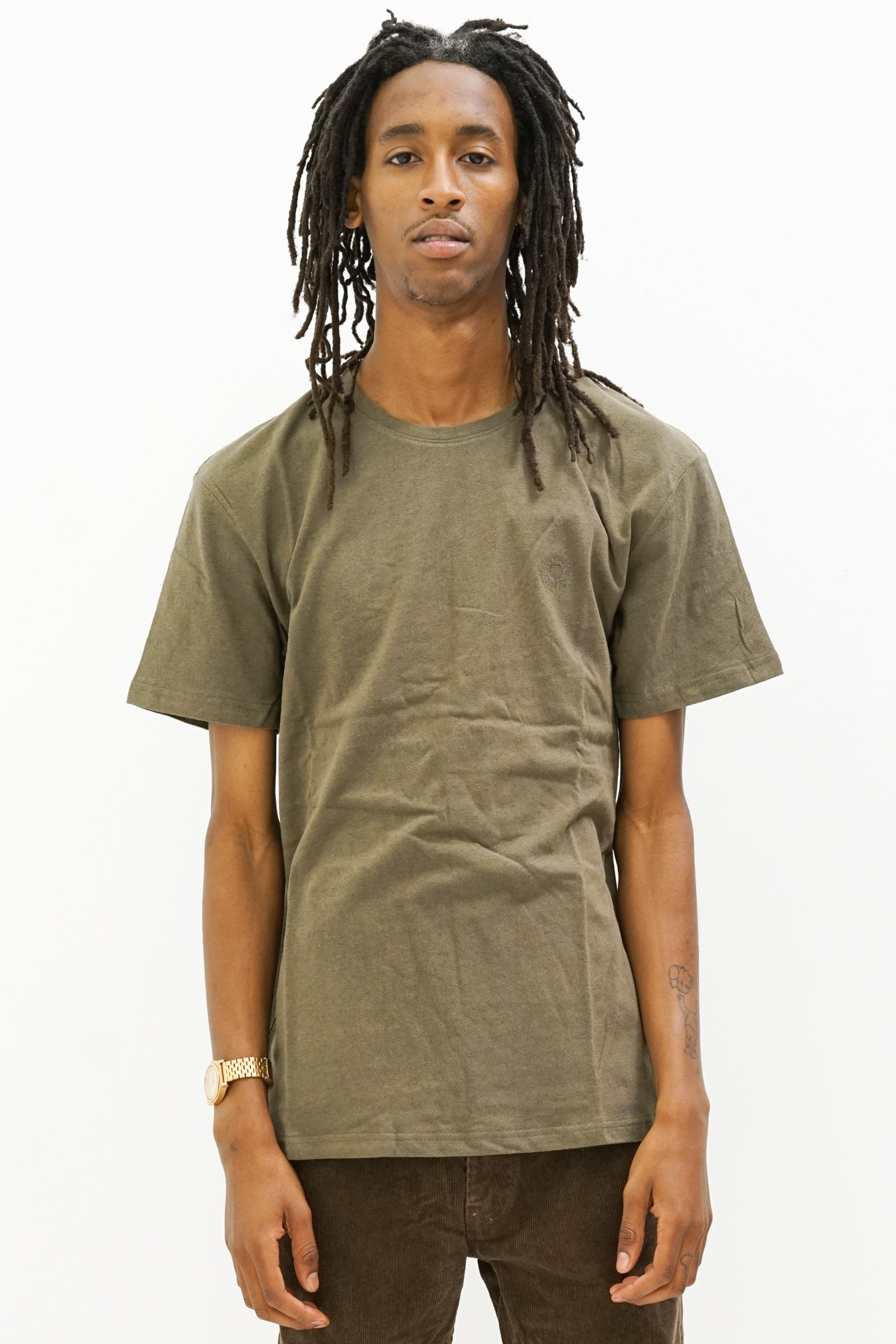 Image of Premium Linen Embroidered T-Shirt in Olive