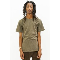Premium Linen Embroidered T-Shirt in Olive