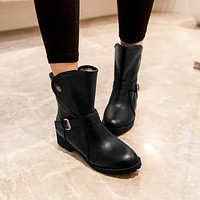 Fall/winter Low Heel Short Boots Casual Women's Motorcycle Boots Shoes