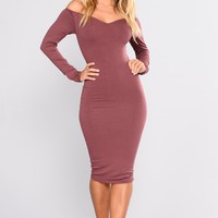 Chloah Off Shoulder Dress - Red Brown