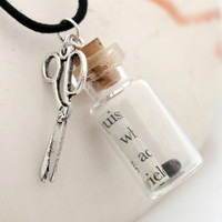 Rock Paper Scissors glass vial pendant with scroll of upcycled paper, small pebble and scissors charm- great gift