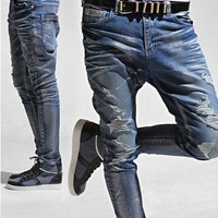 Silver Dust Destroyed Baggy-Skinny Jeans