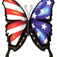 """Amazon.com: USA American Flag Freedom Butterfly Temporary Body Art Tattoos Large 6\"""" x 4.5\"""": Clothing"""