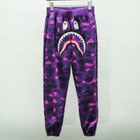 Bape Aape Fashion new shark print personal leisure camouflage women and men pants Purple