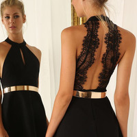 Black Party Dress with Sexy Lace Back