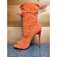 Mona Mia Alectrona Open Toe Perforated Drawstring Ankle Boot Orange High Heels